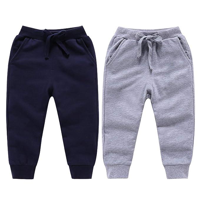 De Feuilles Paquete De 2 Pantalones De Chandal Para Ninos Y Ninas Con Cordon Elastico En La Cintura Para Correr Pantalones Largos Lisos Ropa Activa Deportes Y Aire Libre
