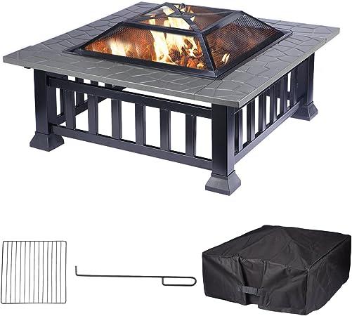 FEMOR 3in1 Feuerstelle mit Grillrost 81x81x45cm BBQ //Ice Schal //Outdoor Fire Pit