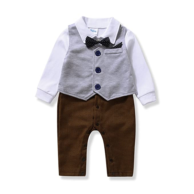 Vintage Style Children's Clothing: Girls, Boys, Baby, Toddler AJia Gentleman style Baby Boys Romper&Vest&Bowtie 3 Pieces Clothes Suit 2 Color  AT vintagedancer.com