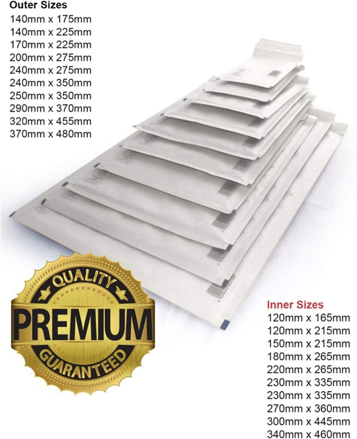 50 X Premium Quality White Padded Bubble Envelopes Waterproof Mailing Bags 240mm x 275mm