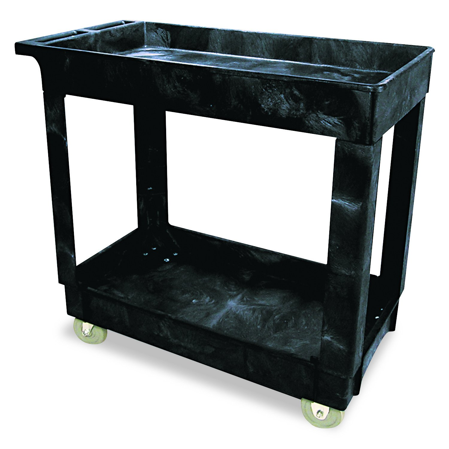 Rubbermaid Commercial  Service/Utility Cart, Two-Shelf, 300 lb capactiy, Black (FG9T6600BLA)