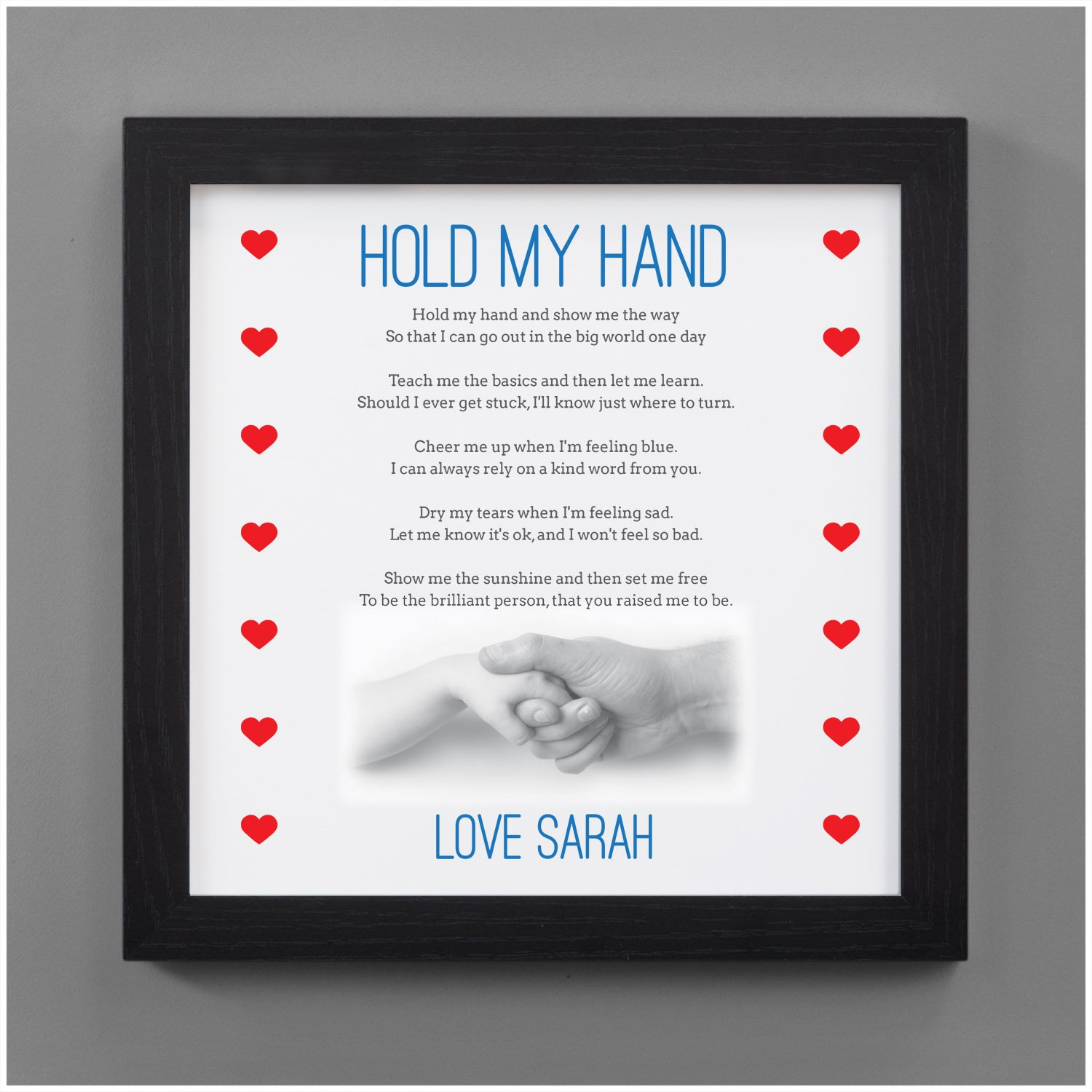 Daddy Grandad PERSONALISED with ANY NAME OR MESSAGE Dad Personalised Fathers Day Poem Gifts for Dad Daddy Grandad First Fathers Day Gift Black or White 8 x 8 FRAMED or Print Only Available
