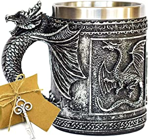 Medieval GOT Dragon D&D Game Mug Collectible of Thrones Merchandise - Beer Steins Viking Tankard Mug Stainless Coffee Cup Gift Mug for Dragon Collector, Themed Party Decoration