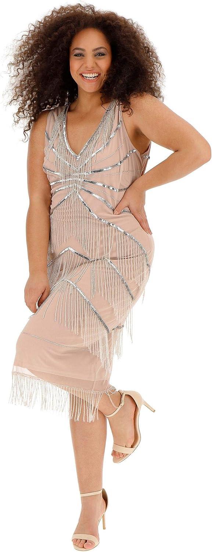 Vintage 1920s Dresses – Where to Buy JD Williams Womens Joanna Hope Chevron Fringe Dress £74.75 AT vintagedancer.com