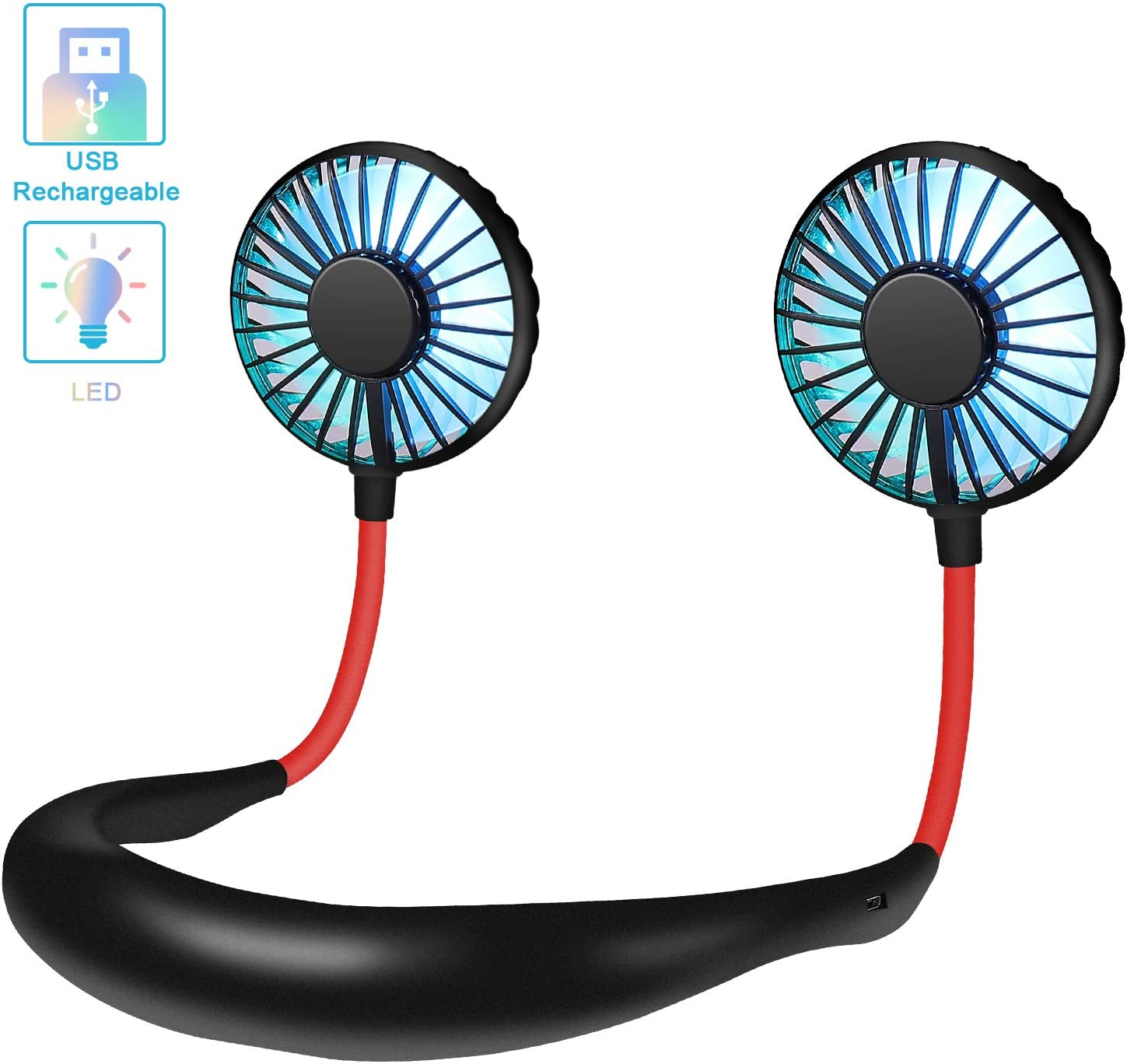 Hand Free USB Personal Fan Rechargeable Mini LED Neck Fan Headphone Design Sports Fan Heads Rotatable Neckband Fan, 2000mAh, 3 speeds, Quiet, Portable for Office Reading Travel Camping (Black)