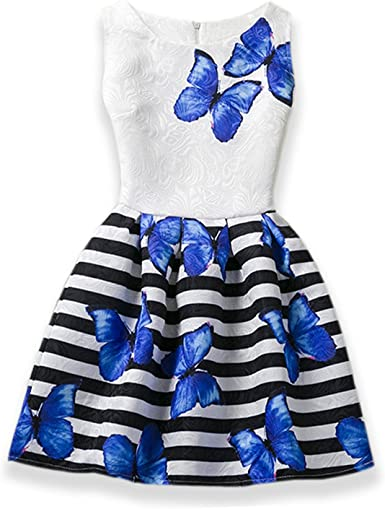 Kids Girls Sleeveless Party Wedding Bridesmaid Butterfly Skater Dress Age 6-12Y