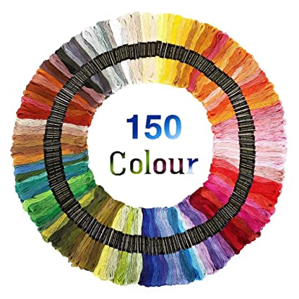 100 Color Leisial 100 Madejas de Hilos Cross Stitch Bordado Hilos Punto de Cruz L/ínea de Costura Coser Hilos Conjunto de Agujas Bordado