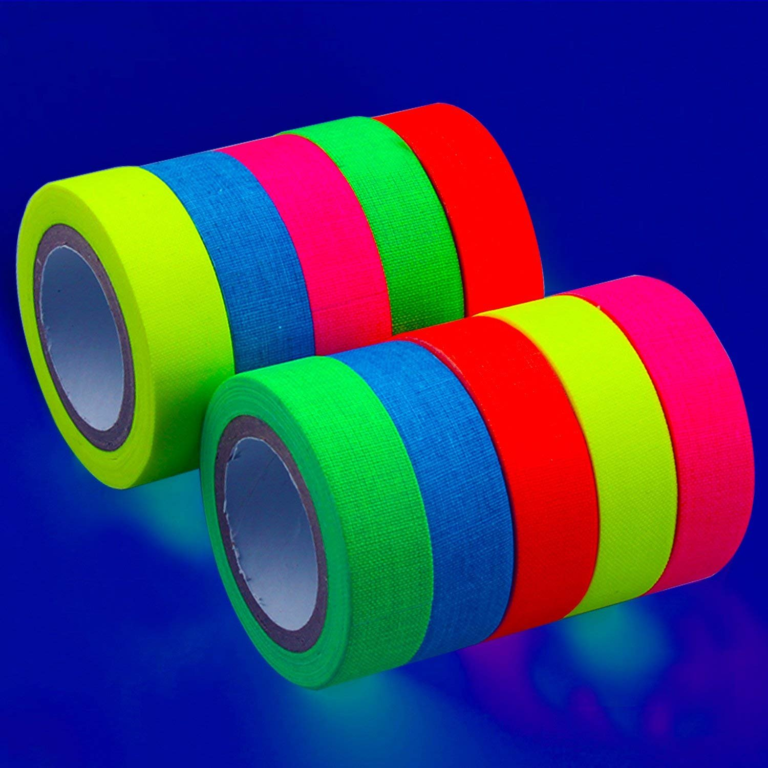 UV Blacklight Tape - Neon Gaffer Cloth Tape (Matte Finish)- 10-Pack - 164 Feet Total (0.59 in x 16.4 ft Per Roll) - Reactive Fluorescent Tape - Neon Blacklight Tape - Multicolor