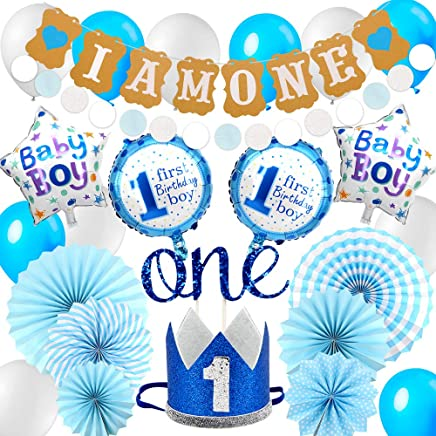 Puselo 1st Birthday Decorations for Baby Boys - I AM ONE Bunting Banner, one cake topper, First Birthday Crown Hat - Blue Boy First Birthday Supplies