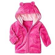 XWDA Baby Girl' Solid Micro Fleece Jacket with Lined Hood (6-9 Months,Pink)