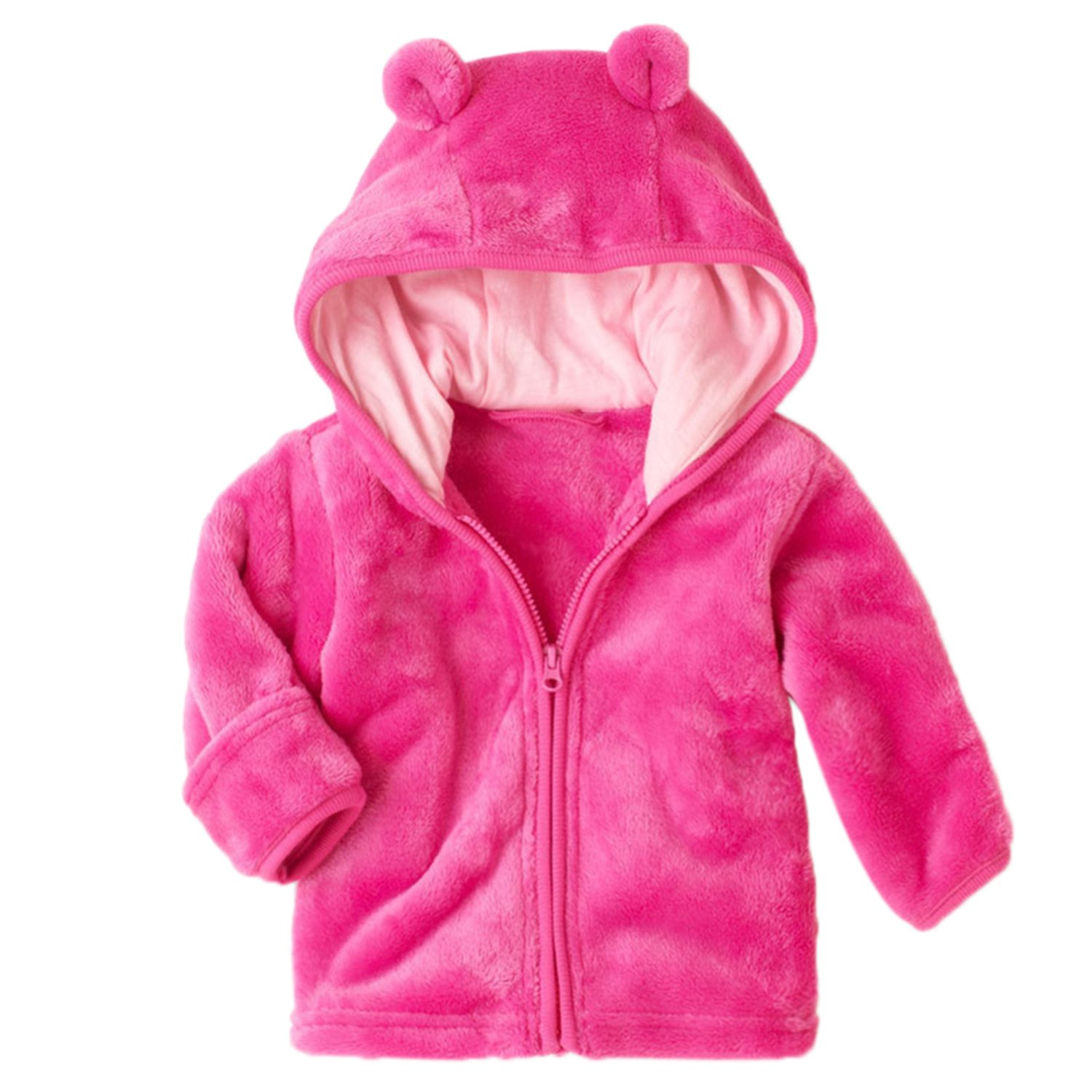 XWDA Baby Boys Girls' Micro Fleece Jacket with Lined Hoodies Kids Warm Solid Zipper Up Coat 20177443