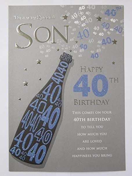 STUNNING TOP RANGE TO A VERY SPECIAL SON HAPPY 40TH BIRTHDAY GREETING CARD Amazoncouk Kitchen Home