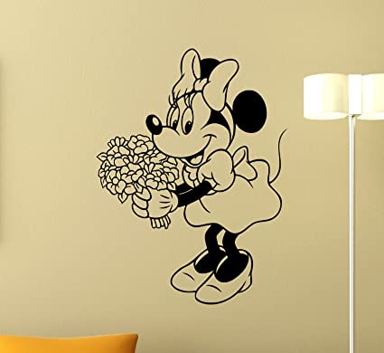 Minnie Mouse Vinyl Wall Decal Girl Kids Flowers Mickey Mouse Walt ...