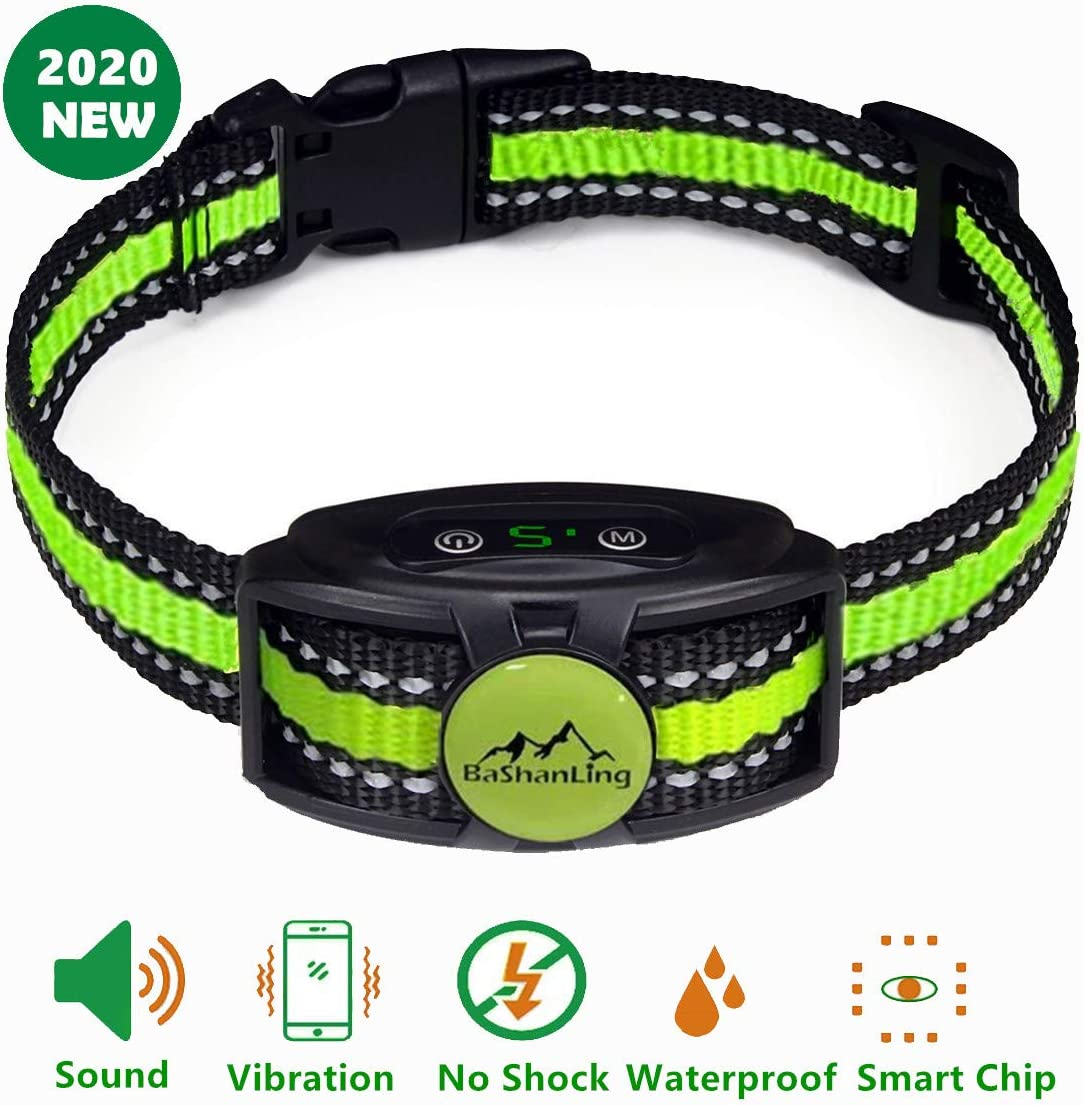 No Shock Bark Collar Rechargeable Bark Control Device,w 2 Training Modes,Beep to Vibration and Strong Vibration,Smart Chip,IP67 Waterproof, No Pain Anti Bark Device for Small,Medium and Large Dog