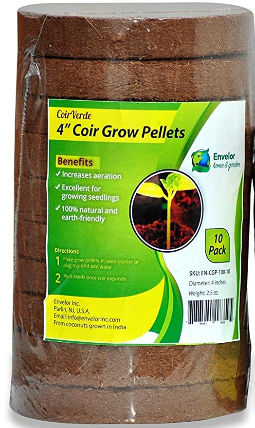 Coco Coir 4-Inch Seed Starter Pellets, Coconut Coir Grow Discs - 10 Pack  (10, 4