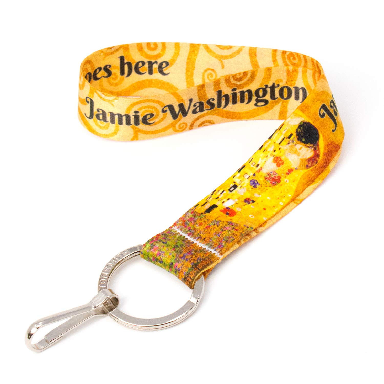 Buttonsmith Custom Wristlet Lanyard - Customize with Your Name - Short Length with Flat Ring and Clip - Made in The USA by Buttonsmith
