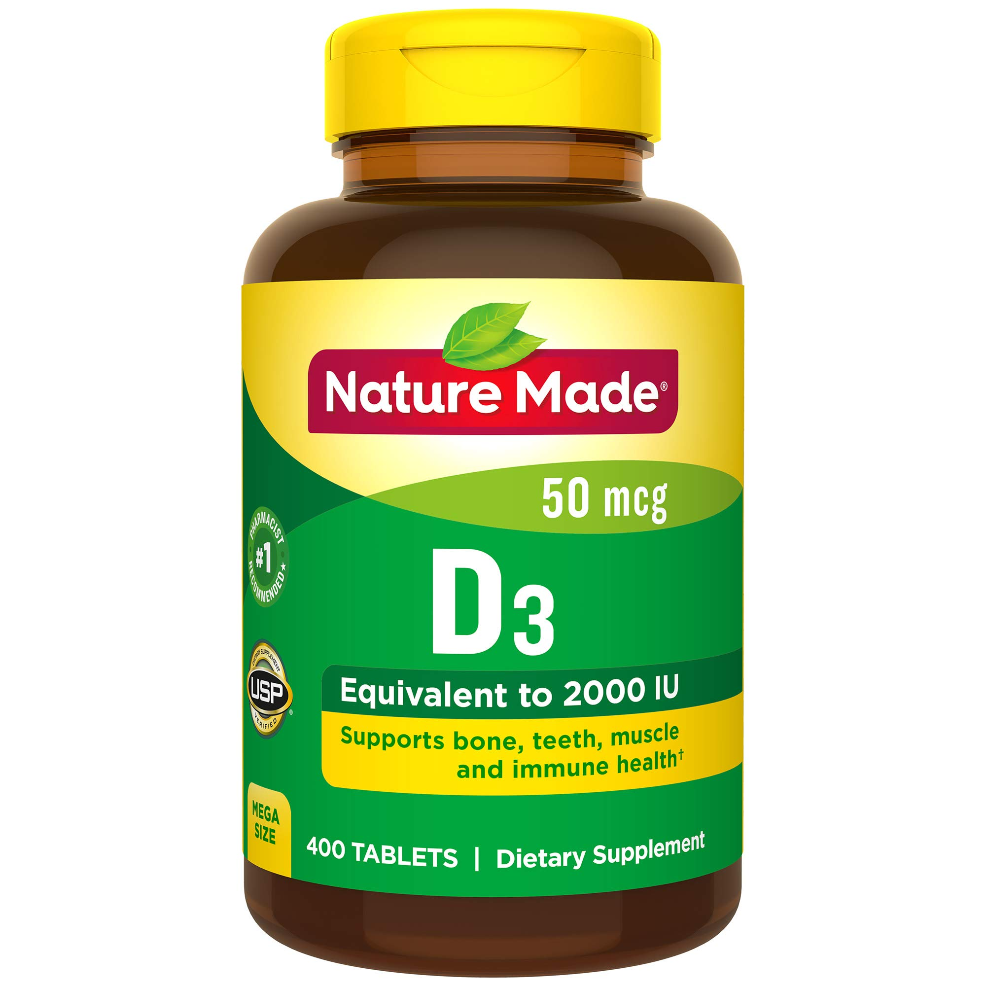 Nature Made Vitamin D3 2000 I.U. 400 Tablets Value Size by Nature Made