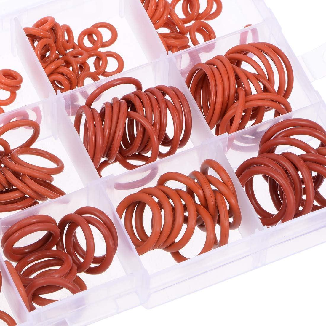 225pcs Metric Seal Rings Assortment Set Red Higomall Silicone O-Ring Kit