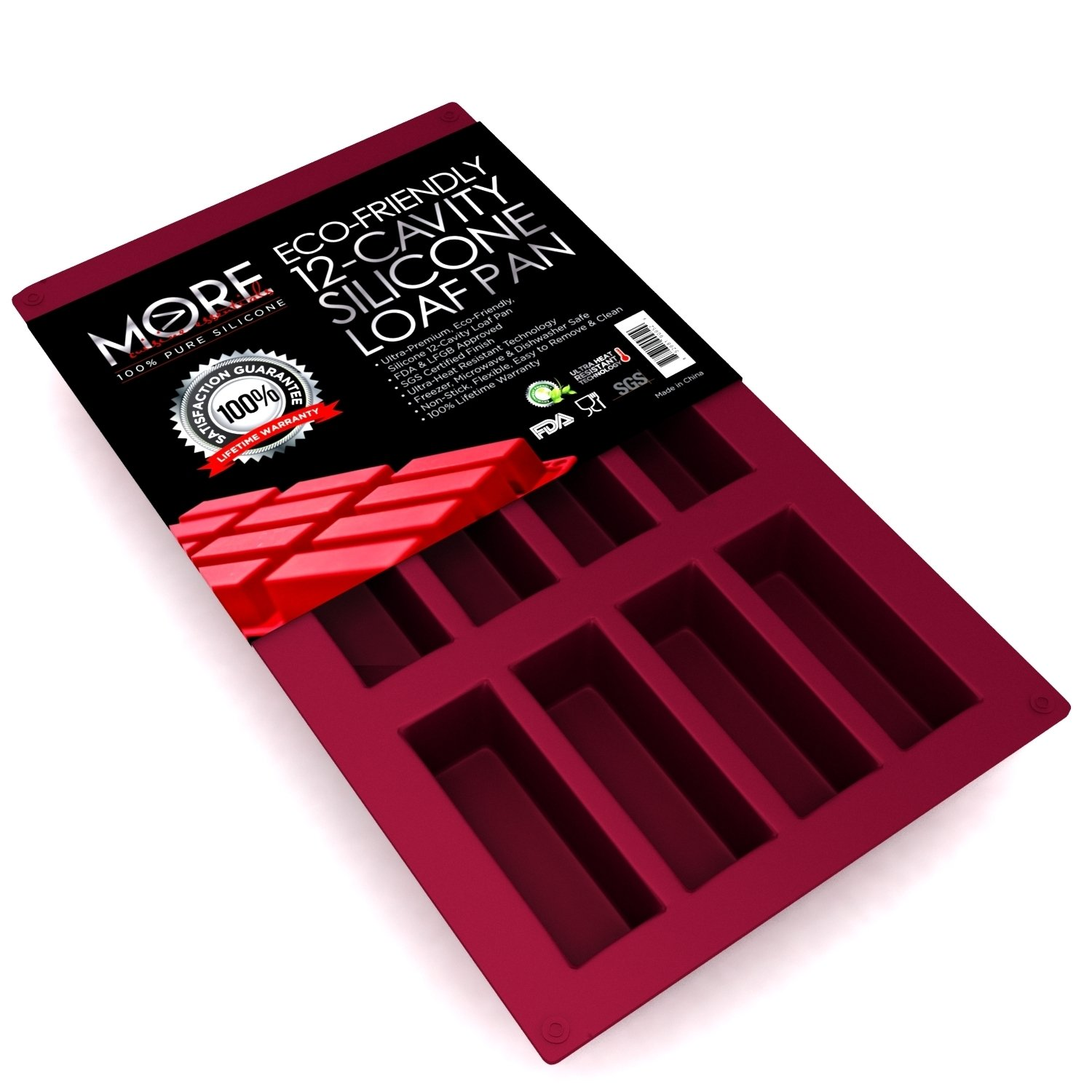 Ultra-Premium, Eco-Friendly 12-Oblong Cavity Narrow Rectangle Silicone Bars, Baking Mold/ Baking Pan for Soap, Cake, Bread, Cupcake, Cheesecake, Cornbread, Muffin, Brownie, and More . 29.5 x 17.5 x 1.3, Burgundy Wine by More Cuisine Essentials BG-1203X, by More Cuisine Essentials B00SH71SGI