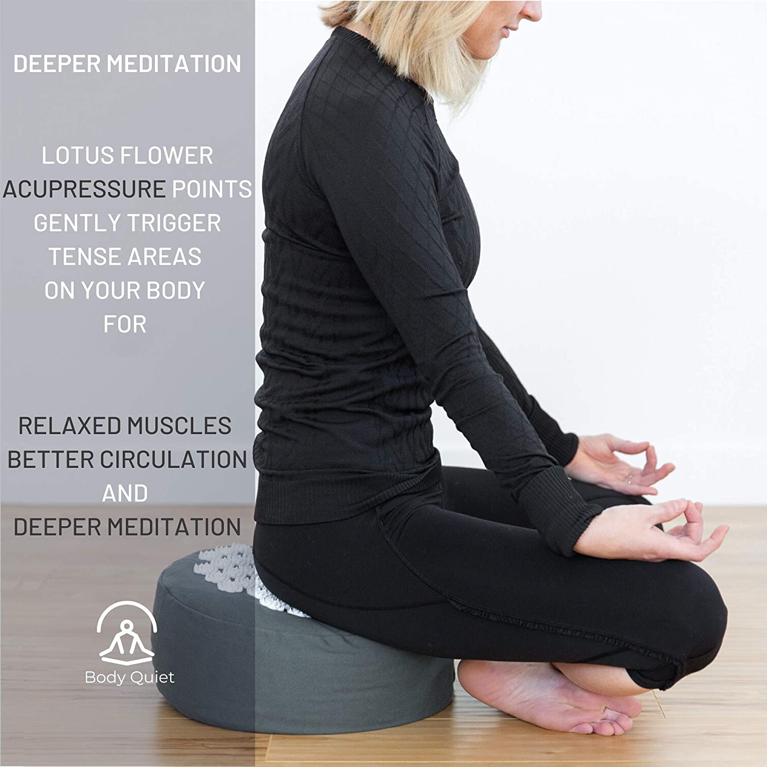 Body Quiet Meditation Cushion with Acupressure for Stress Relief | Large 13