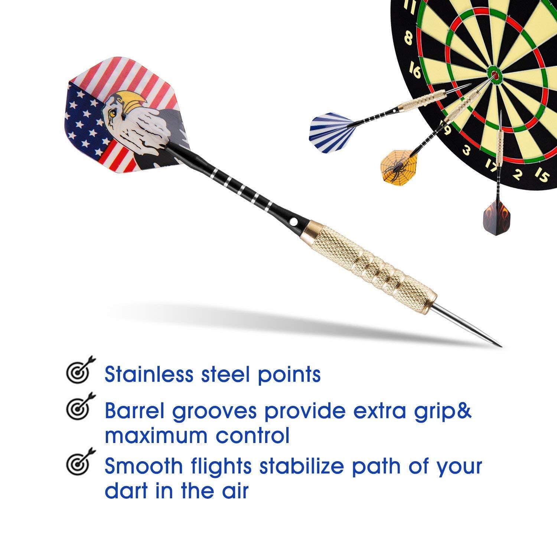 Freccette Steel, 15 Pezzi 18g Dardo Punta in Acciaio con Dart Sharpener e 3 Voli Extra per Professionisti o Principianti VOOKI