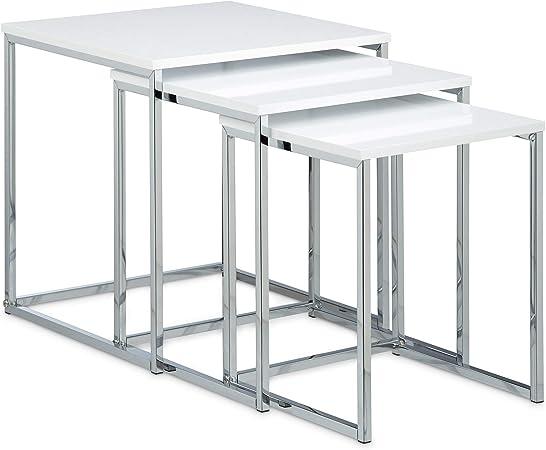 Relaxdays – Conjunto de 3 mesas auxiliares, madera y metal, diseño ...