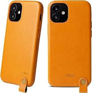 Alto Anello 360 Leather Case Compatible with iPhone 12 Mini (5.4 inch), Drop Proective Premium Italian Leather Case with Neck Strap for iPhone 12 Mini (Caramel Brown)
