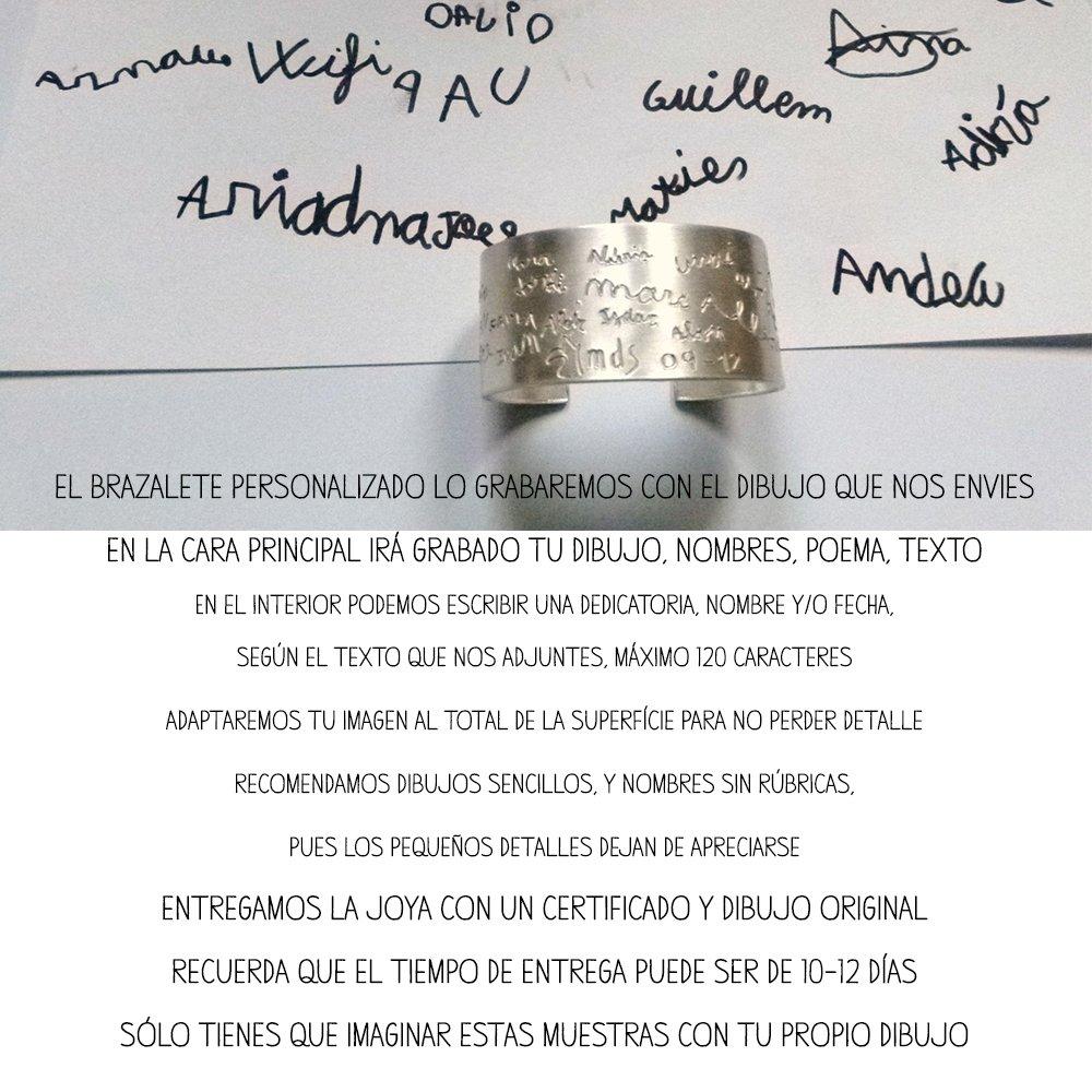 MUNOTA- Pulsera de plata- Brazalete personalizado con TU DIBUJO o NOMBRES, escritos por ti. Regalo único para el día de la madre, regalos para profesores, ...
