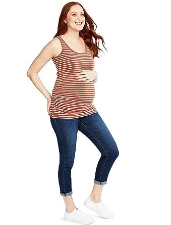 8513af336bfda Motherhood Indigo Blue Side Panel Skinny Leg Maternity Crop Jeans at Amazon  Women's Clothing store: