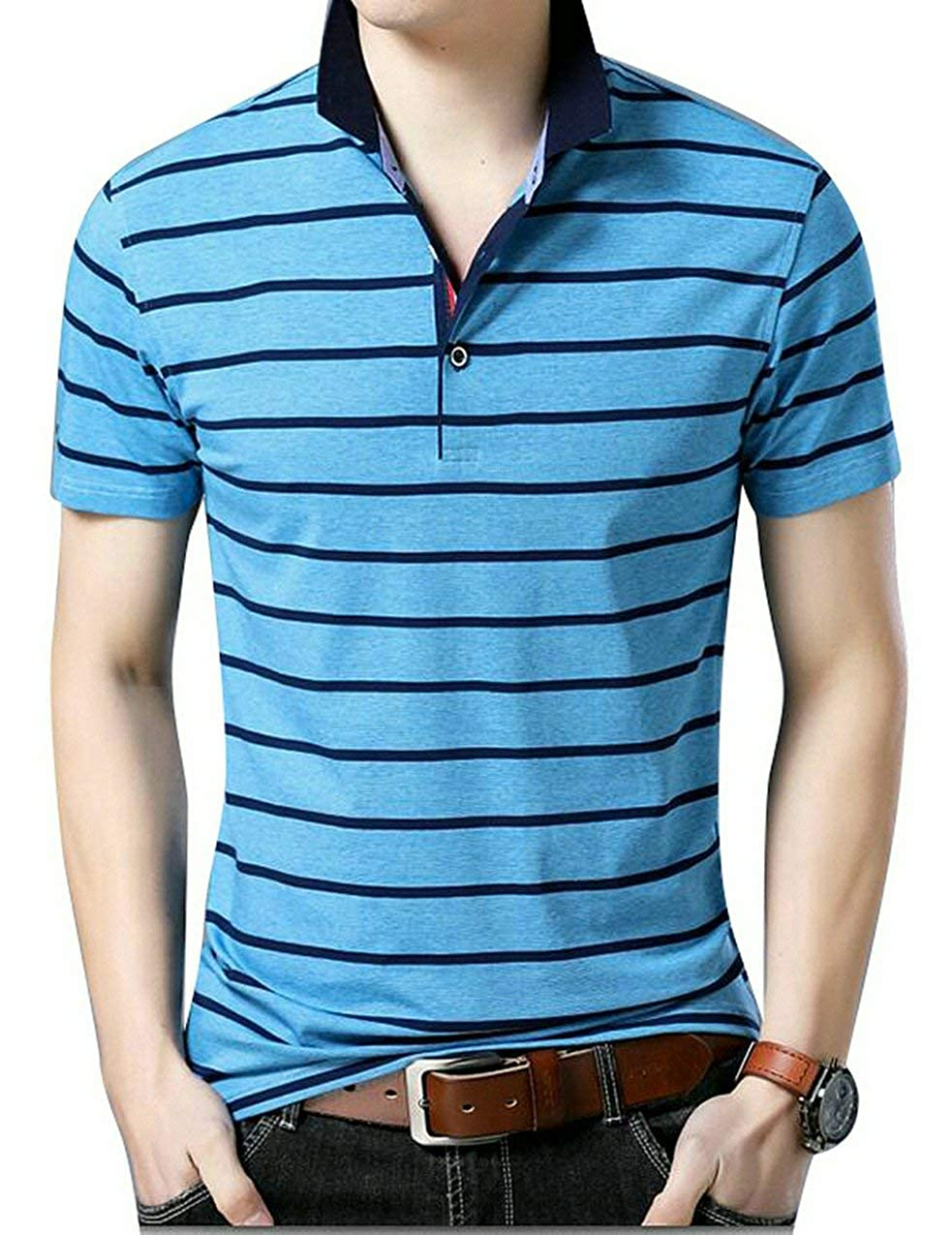 MK988 Mens Classic Lapel Stripe Short Sleeve Buttons Business Golg Polo Shirt Top