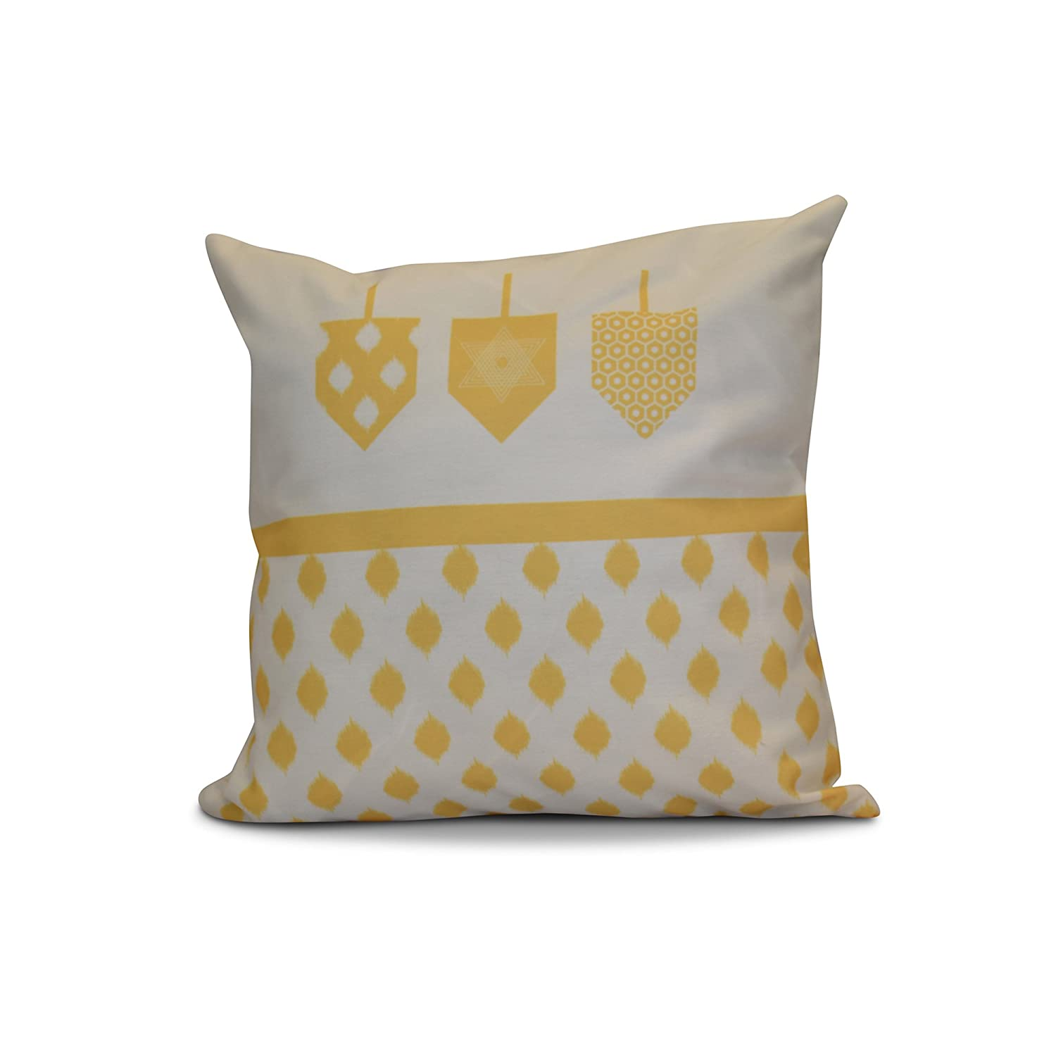 E by design PGHN570YE9-20 20 x 20 inch, Decorative Holiday Pillow, Geometric, Yellow