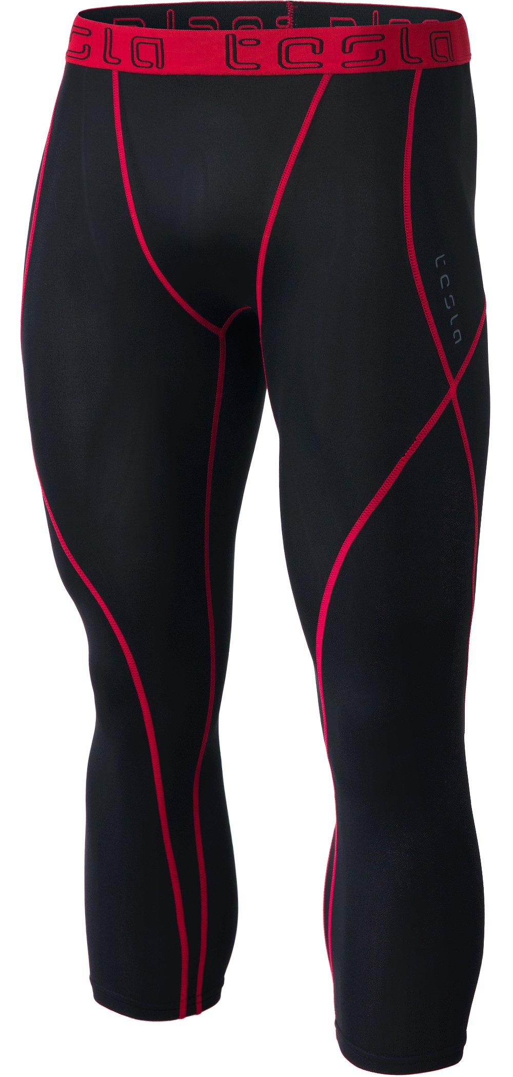 TSLA Men's Compression 3/4 Capri Pants Baselayer Cool Dry Sports Running Yoga Tights, Atheltic(muc18) - Black & Red, Small by TSLA