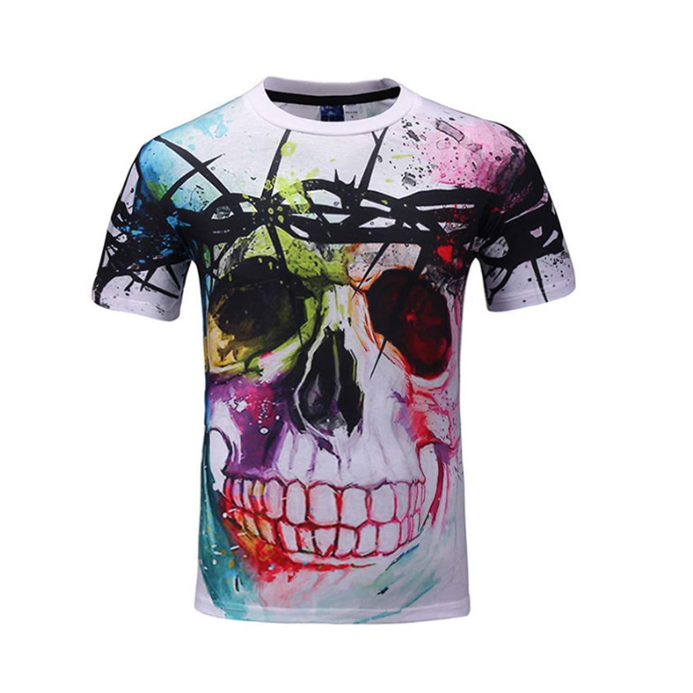 bc8c1c9b2c 3D Printing Funny American Flag Skull Casual Short-Sleeved Nightclub ...