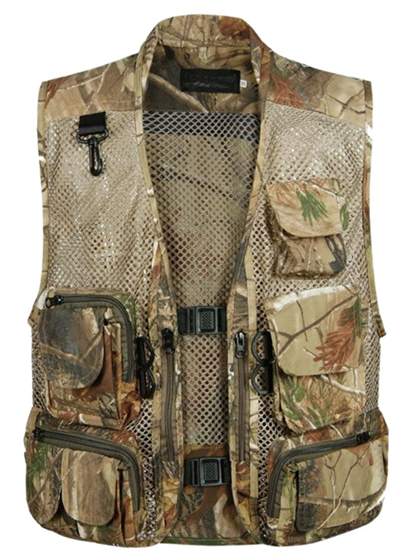 M/&S/&W Mens Camouflage Mesh Fishing Vest Multi Pockets Photography Outdoor Climbing Tactical