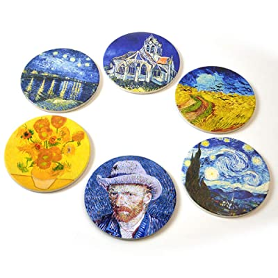 Buy Coasters For Drinks Absorbent Absorbent Drink Coasters Use 6 Famous Van Gogh Art Paintings Ceramic Drink Coasters Unique Housewarming Gifts For New Home Living Room Decorations Kitchen Room Bar Online