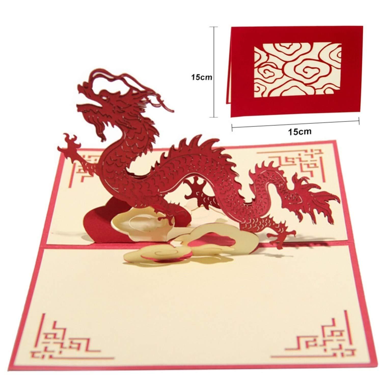 Amazon.com : CHITOP Wedding Invitation Card 3D Chinese Dragon ...