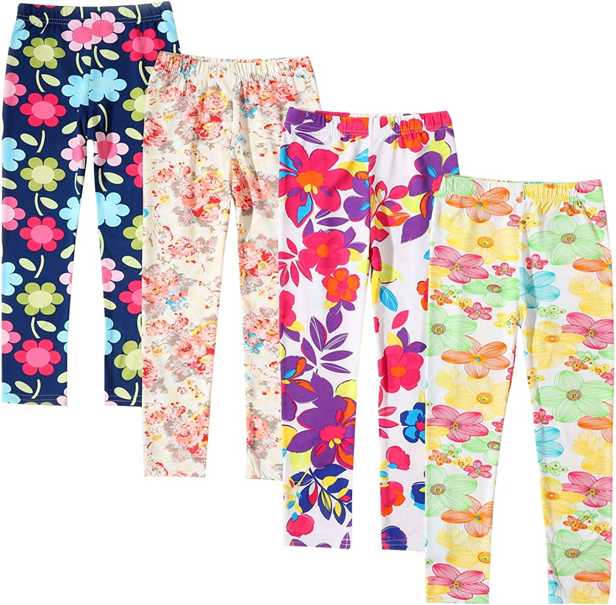 Kids Girls Stars Leggings Colorful Printed Pants Pattern Tights 4 Pack Orange 8 9