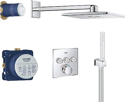 Grohe Grohtherm SmartControl Perfect - Juego de ducha con termostato Rainshower Cuadrado, para instalación empotrada con tresválvulas, 310 mm