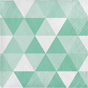Creative Converting 324474 192 Count Beverage Paper Napkin, Fractal Fresh Mint