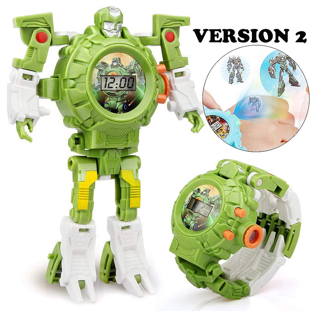 gomamo Kids Watch, Toys for 4 5 Year Old Boys, 3 in 1 Projection Robot Watch Kids Toys (Green)