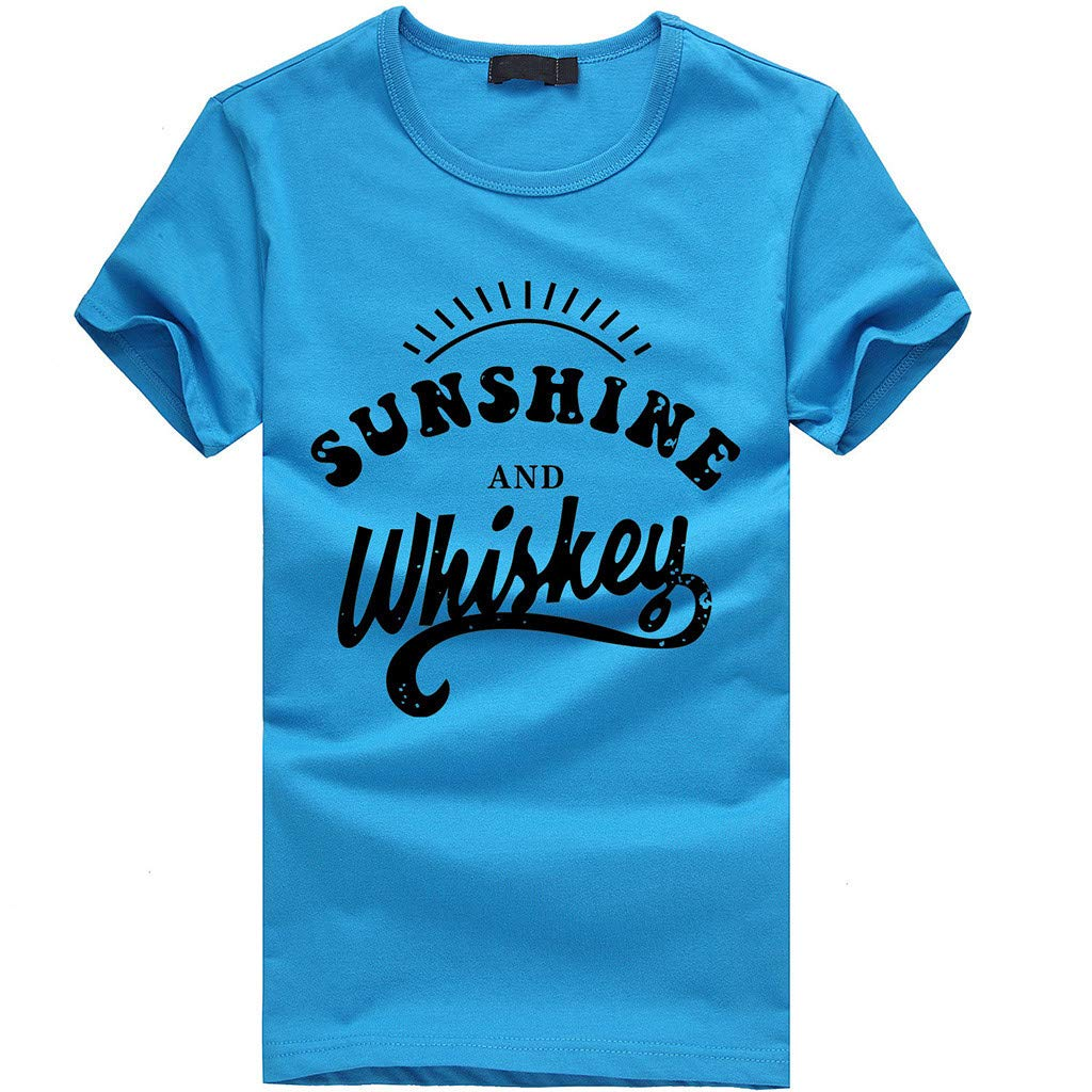 Keliay Cute Womens Tops Summer,Women Girls Plus Size Print Tees Shirt Short Sleeve T Shirt Blouse Tops Sky Blue by Keliay (Image #1)