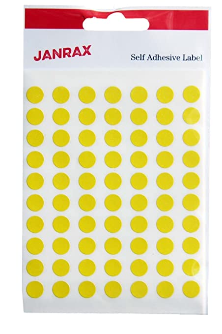 Range wholesale 980 labels 8mm diameter round yellow colour code stickers self