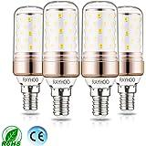 Rayhoo E14Ampoules LED, 12W LED Candélabre ampoules 100W équivalent, 1200LM, Blanc chaud 2700K ampoules LED Lustre décoratifs, Base de bougie E14lampe LED non dimmable, Lot de 4