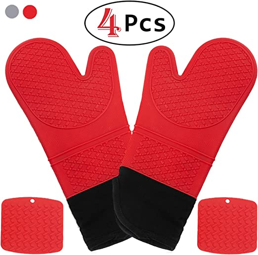 Oven Mitts Silicone Heat Resistant Cooking Pot holder Pair Gloves Kitchen Tools