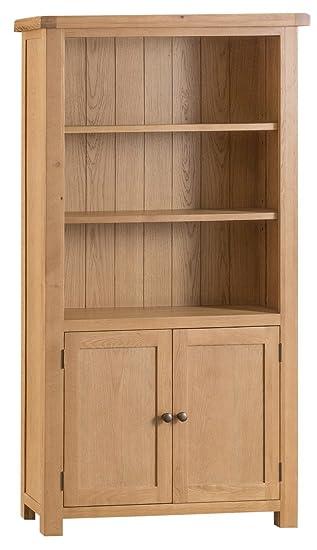 quality design 8fafc 3418e Chichester Oak 2 Door Large Wide Bookcase with Light Oak ...