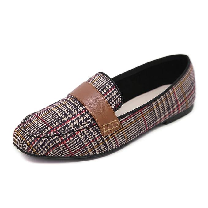 Morbuy Mujer Clásico Tela escocesa Transpirable Mocasines, Zapatos Planos Loafers Zapatos del Barco Casual Zapatos de Conducción, Cómodo y Antideslizante ...