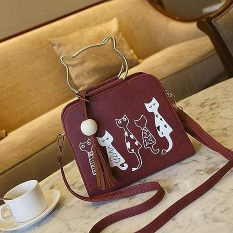OneMoreT - Bolso bandolera para mujer, diseño de gato, rojo