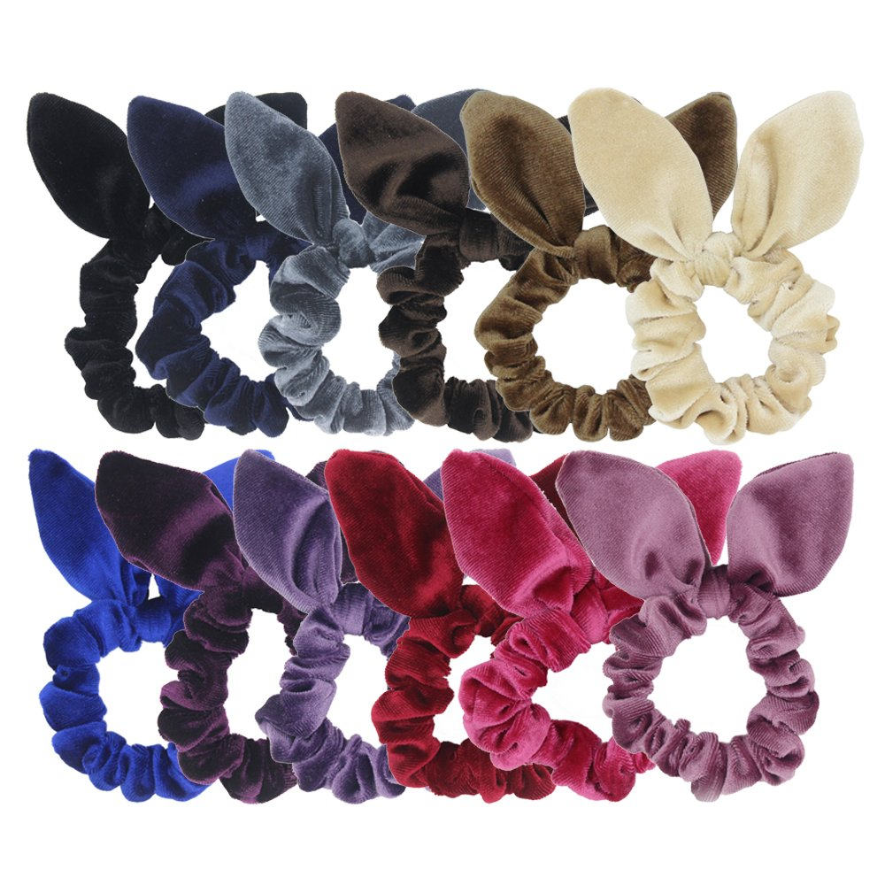 12 Pack Hair Scrunchies Velvet Scrunchy Bobbles Elastic Hair Bands (12pcs mix bunny velvet scrunchie)