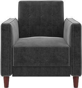 DHP Ivana Accent Chair, Grey Velvet