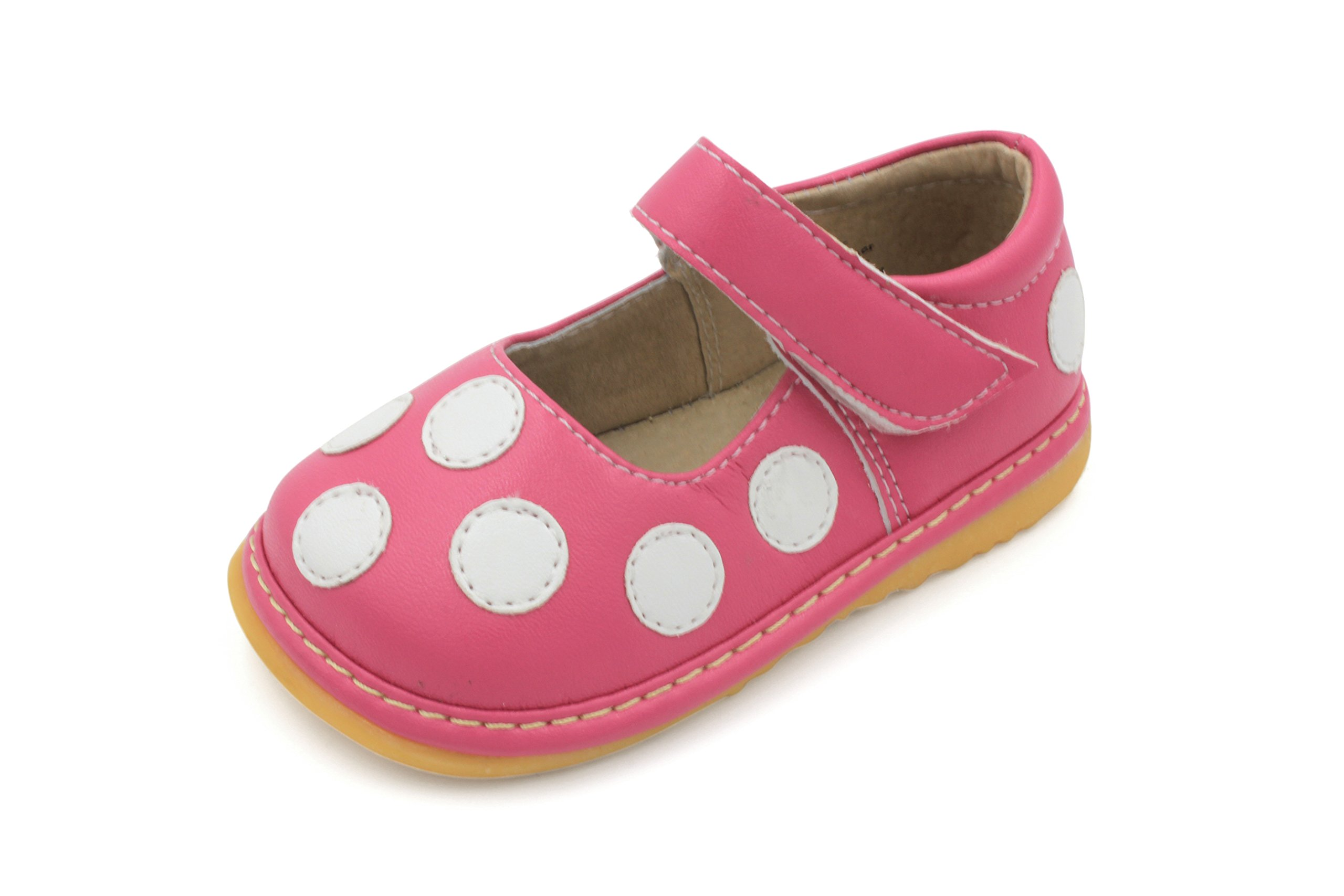 Little Mae's Boutique Squeaky Shoes | Hot Pink & White Polka-Dot Mary Jane Toddler Girl Shoes (5)